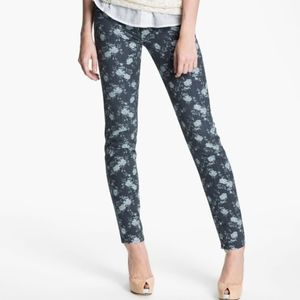 Kut washed grey floral diana skinny jeans size 14